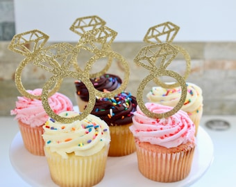 Gold Glitter Ring Cupcake Toppers | Wedding Cupcake Toppers | Bridal Shower Favors | Wedding Favor | Engagement Party| Cupcake Favor