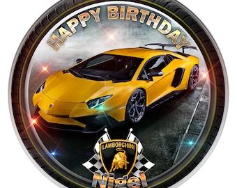 "Lamborghini Personalised Edible Icing. Birthday Cake Topper Decoration 7.5"""