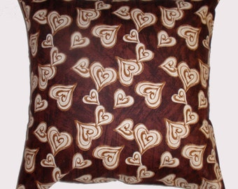 Removable Throw Pillow Cover, Deja Brew Coffee Hearts Accent Pillow Cover, Handmade Chocolate Brown Coffee Valentine Hearts Cushion Cover