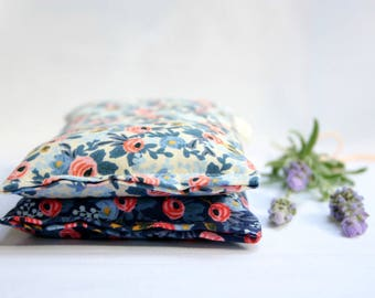 Set of 2 Eye Pillows - Lavender and Flax Seed Eye Pillows - Les Fleurs Scented Gift Relaxation Yoga Meditation
