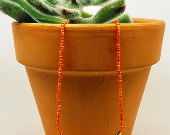Orange Beaded Necklace / Seed Bead Necklace/ Gold Plated Tube Necklace