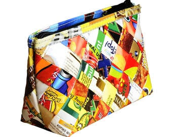 Candy wrappers makeup case, FREE SHIPPING, vegan case, eco-friendly makeup bag, sustainable purse, recycled gifts, ethical gifts