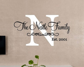 Custom Monogram & Last Name Vinyl Decal Set | Personalized Home Decor, Wall Art Lettering Decals 26x14.2 | 40+ Colors Available! Quick Ship!