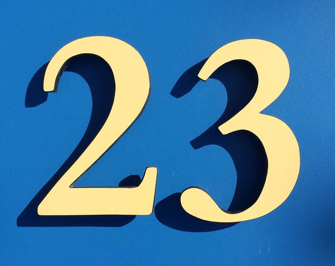 """Serif Coloured House floating numbers,  6""""/150mm high in Garamond font,  standoff floating in resin board g"""