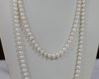 Long pearl necklace, 60 inches 7-8mm, Freshwater Pearl Necklace, white freshwater Pearl necklace
