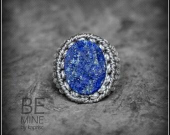 Ring Raw Lapis Lazuli Macrame