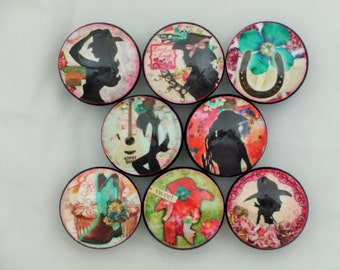 Set of 8 Western Cowgirls Cabinet Knobs