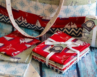 Fat Quarters, Fabric Bundle, Nautical, Cotton, Quilting, Patchwork, Crafting, Red, Blue, Home Decor, Wall Decor, Gift for Mom