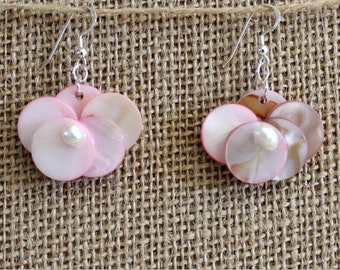 Dangle earrings with pink nacre flowers freshwater pearls  and sterling silver , earrings with mother of pearl and sterling silver hooks