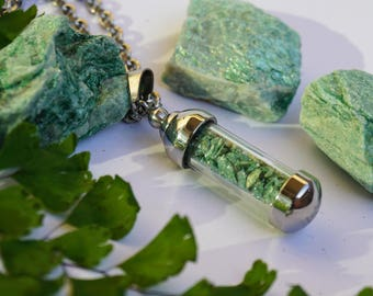 Fuchite Crystal Necklace - Stainless Steel Vial Necklace - Natural Crystal Healing Jewelry