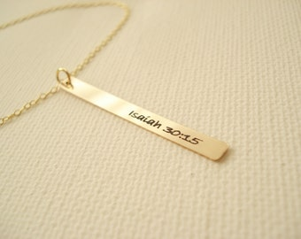 14 kt. Gold filled Personalized Bar Necklace...engraved name plate gold bar jewelry, Sorority gift, monogram, bridesmaid gift