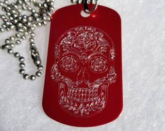 Sugar Skull Dog Tag Necklace - Sugar Skull Necklace - Sugar Skull - Sugarskull - Personalized Gift - Engraved Gift - Custom Gift - Necklace