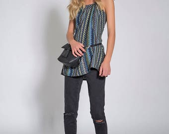 Tunic Tank Tops, Long Tank Tops, Loose Tunic, Zigzag Printers, Tank Tops For Women, Casual Top, Summer Tunic, Tunics For Women, Blue Blouse
