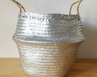 Silver Belly Basket Seagrass Panier Boule Nursery Toy Home Storage Planter Laundry