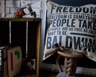 James Baldwin Pillow Gray, Beige 100% cotton, 20 x 20, double-sided