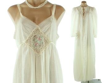 70s DVF Peignoir Set Nightgown Robe 40s Style Diane von Furstenberg Ivory Crochet Lace Vintage 1970s Small S Long