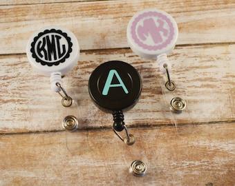 Monogrammed Badge Reel, Monogram ID Reel, Monogram Badge Reel, Personalized Badge Reel, Personalized ID Reel, Badge Holder, Nurse, RN, Badge