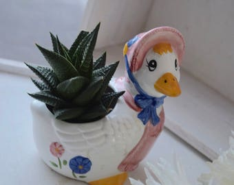 Mama Goose Vintage Ceramic Floral Indoor Planter, housewarming gift, wedding gift, birthday gift
