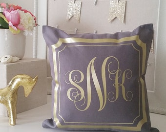 SALE! Monogram Throw Pillow Cover - Gray Gold or Silver Monogram Personalized Pillow Covers, Custom Accent Wedding Pillow Covers, Farmhouse