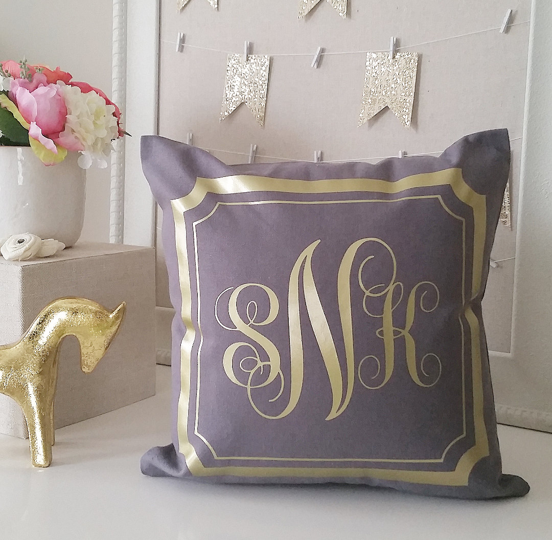 SALE Monogram Throw Pillow Cover Gray Gold or Silver