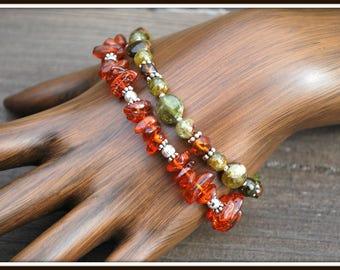 Garnet Bracelet, Green Garnet Bracelet, Amber Bracelet, Amber and Green Garnet, Double Strand Bracelet, Multi Strand Bracelet