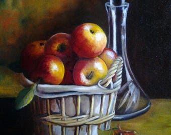 Basket of apples and his pitcher
