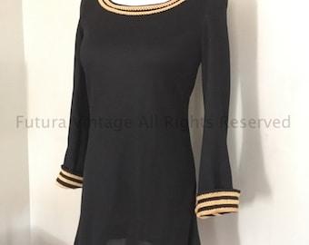 1960s Fabulous Mod YOUNG EDWARDIAN by Arpeja Black Mini Dress with Gold Trim-XS S