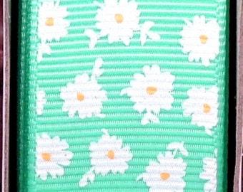 "2 Yards 1"" Aqua with White Dainty Daisy Flower Print Grosgrain Ribbon"