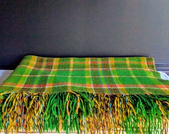 Vintage Green Plaid Blanket, Buchanan Tartan Clan Large Throw with Fringe , Irish Plaid Wool Blanket,Tailgate Blanket