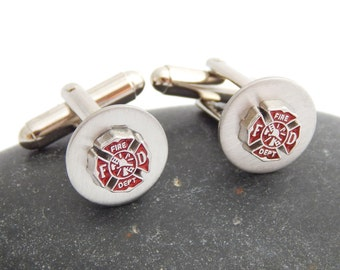 Firefighter Cufflinks Fire Department Fireman Cuff Links Christmas Father's Day Groom's Gift