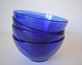 Arcoroc France Cobalt Blue Glass Bowls - set of 4