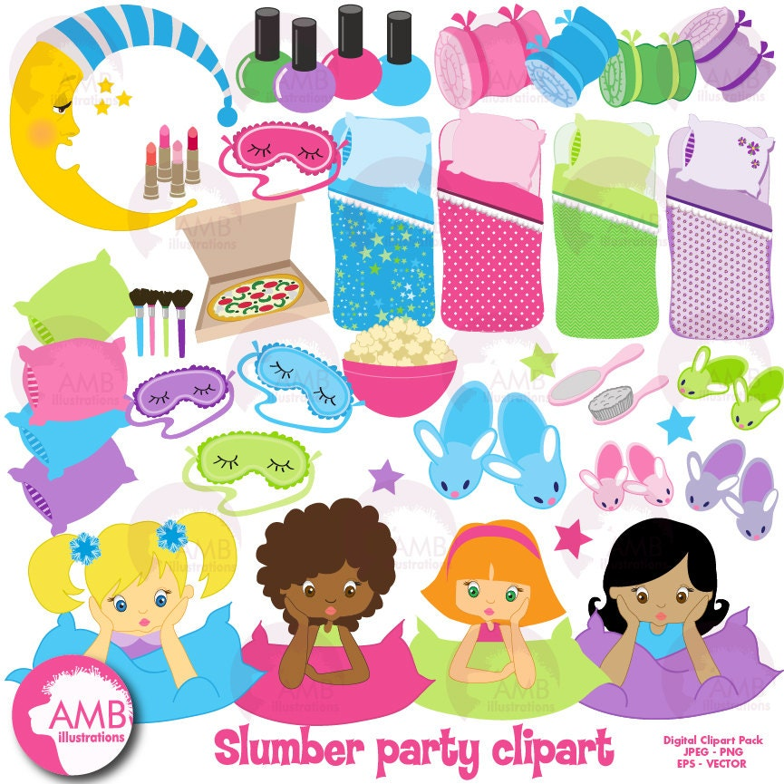 slumber party clipart sleep over clipart girls spa night rh etsy com Clip Art Birthday Party Pajama Party Clip Art