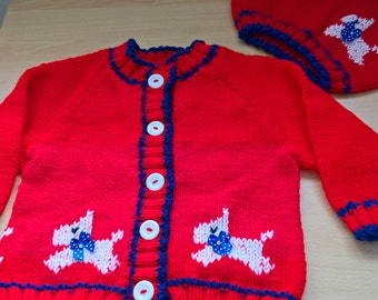 Girl's knitted cardigan set