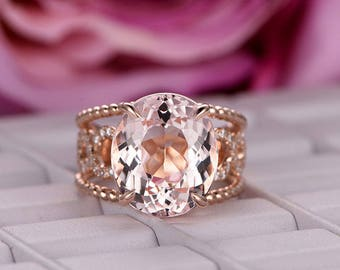 11x13mm Oval Cut Morganite Engagement ring/14k Rose gold/Split Shank Diamond Band/Halo Stackable/Art deco Infinity band/Half Eternity/Pave