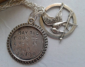 May The Odds Be Ever In Your Favor - handstamped charm - fantasy - mockingjay charm - handstamped necklace - for fantasy lover
