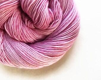bebe / hand dyed yarn / fingering sock dk bulky yarn / super wash merino wool yarn / single or ply/ choose base / pale baby orchid pink yarn