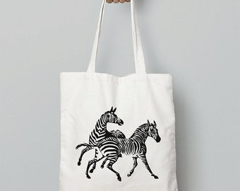 Zebra Tote Bag / Canvas Bag / Shopping Bag / Shoulder Bag / Canvas Tote Bag / Christmas Gift For Girlfriend / Animal Gift For Women / Zebras