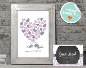 Whale Baby Shower Guest Book, Whale Guest Book, Purple, Gray, Polka Dots, Waves, Chalkboard | Instant Download