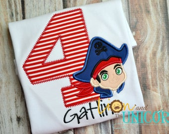 Captain Jake and The Neverland Pirates Birthday Shirt - Number can be changed - Captain Jake Birthday Shirt