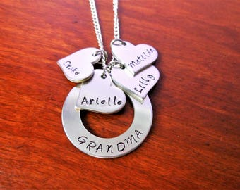 Grandma Necklace - Nana Necklace - Mom Jewelry - Kids Names - Personalized - Hand Stamped Jewelry - Mother's Day - Grandkids Names