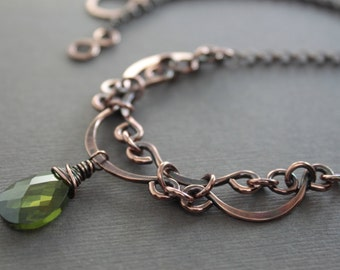 Victorian inspired layered scallop design copper necklace with olivine green CZ briolette pendant - Victorian style necklace - NK016