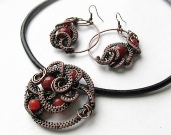 Wire wrapped, Copper jewelry set, agate jewelry set- earring-necklace, Copper wire jewelry, wire jewellery, copper jewelry, agate jewelry