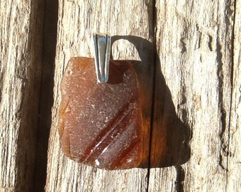 Beach glass and sterling pendant - Brown eyes