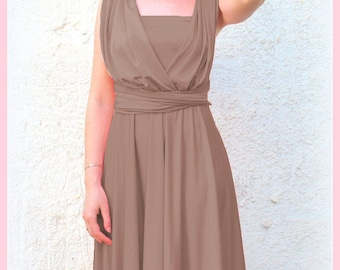 Bridesmaids dress in light brown color Infinity dress with matching tube top
