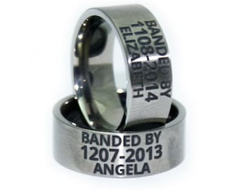 Custom ENGRAVED Wedding Ring - Duck Band - Anniversary Gift