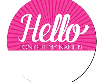"Bachelorette Party Name Tags, Funny Name Tags, Bachelorette Party Favors, Bachelorette Stickers ""Hello, Tonight My Name is"""