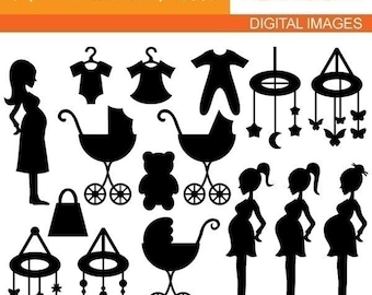 Mom To Be Silhouette clipart / baby shower clip art commercial use / pregnant woman, baby carriage pram / maternity, pregnancy