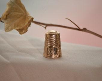 Antique gold thimble, Antique thimble, Vintage gold thimble, Old thimble, Engraved thimble, 1800s sewing thimble