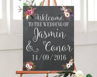 Custom Wedding signs, Chalkboard Welcome Sign, Printable, Welcome Wedding Sign,  Custom sign, Wedding Printables,  Floral Wedding sign