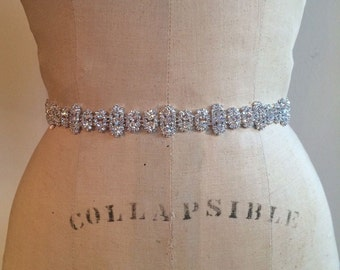 Bridal Belt-Bridal Sash-Bridesmaid Belt-Rhinestone Bridal Sash Belt-Beaded Rhinestone Bridal Wedding Sash Belt- Rhinestone Bridesmaid Sash